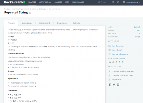 HackerRank for Python Programmers Repeated String Description